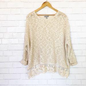 Olivia Sky Tan Open Knit Lace Hem Sweater Top